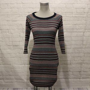 Pink Rose | Maroon & Navy Stripped Knit Dress